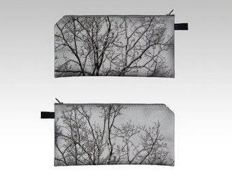 Winter Tree Pencil Case -  Zipper Pouch - Pencil Pouch - Cosmetics Pouch - Cosmetics Case