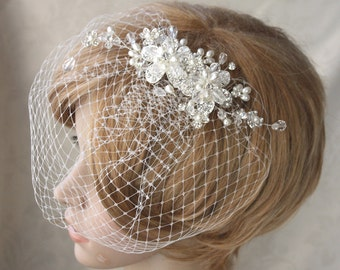 Pearl and crytal hair comb with detachable birdcage veil  (2 items) for wedding - made to order