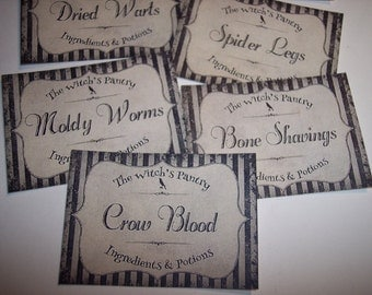 The Witch's Pantry Sticker Labels Set of 8