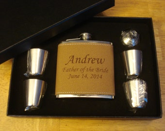 Leather Flask Sets, 4 Personalized Sets  -  Great gifts for Best Man, Groomsmen, Father of the Groom, Father of the Bride