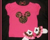 SaLe-Minnie Mouse Leopard Applique Tee Shirt AND Matching Ruffle Socks...Great for Animal Kingdom-Size 12 Mos. Plus FREE Hairbow