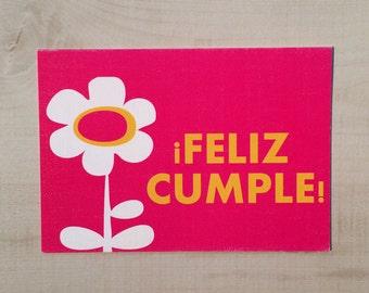 Feliz Cumple / Happy Birthday Pink Notecard