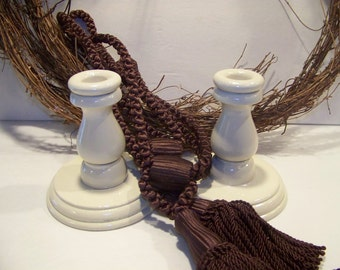 Set of 2 Candlesticks Cottage Chic Creamy Wooden Candleholders Wedding or Christmas Decor
