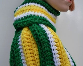 Football Team, Sports Team Inspired Scarf, Green Yellow White Scarf, Team Spirit Scarf, Crochet Scarf