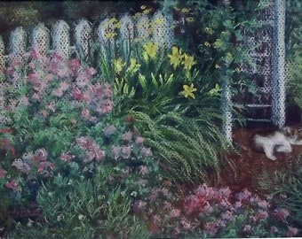 CAT NAP Garden Art Pastel Painting Drawing 8 x 10