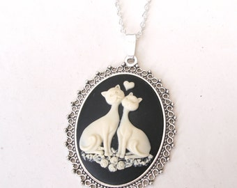 Love Cats Necklace, Cat Necklace, Cat Cameo Necklace, Loving Cats, Valentine Necklace, Choose Silver or Bronze, Black, Purple or Pink