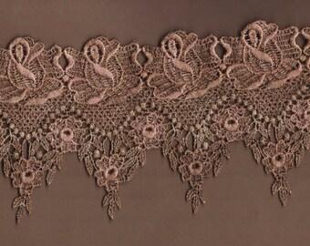 Hand Dyed Venise Lace Victoriana  Vintage Mocha Mauve Blush