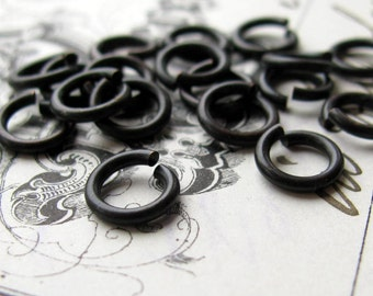 7mm jump ring, black antiqued brass, 17 gauge (50 black jump rings) 7mm brass jumpring, aged black patina, lead nickel free, made in USA
