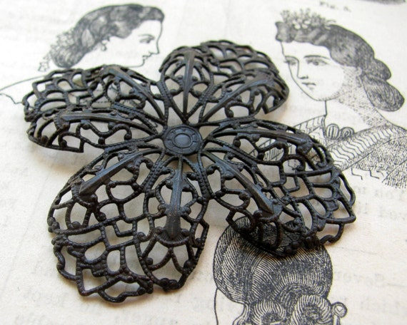 Four petal flower antiqued brass filigree, 52mm aged dark black brass ornament, bendable wrap, pierced, distressed patina
