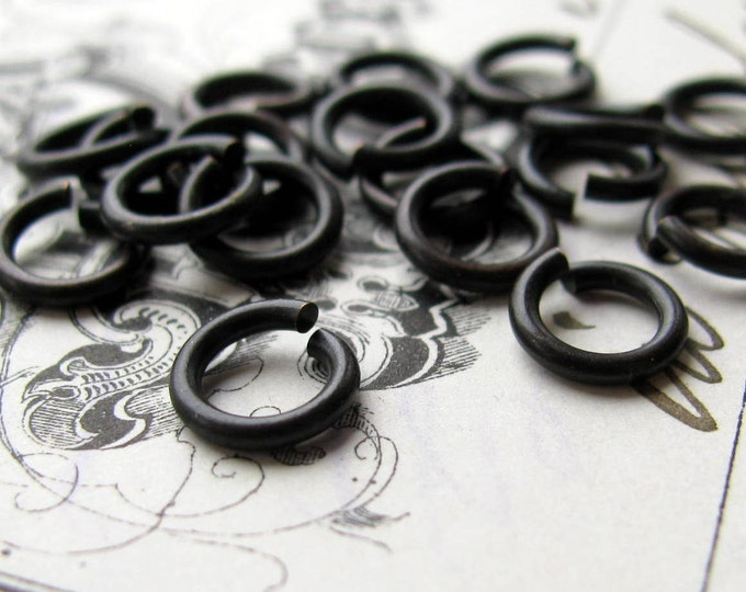 7mm jump ring, black antiqued brass, 17 gauge (30 black jump rings) 7mm brass jumpring, aged black patina, lead nickel free, made in USA