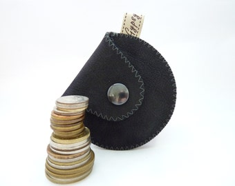 """Men's Coin Pouch in Black Leather and Grey Wool / The """"Mini Gypsy Coin Purse"""""""