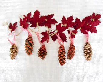 Glitter Cone Red Rose Gold Maple Leaf Twine Garland  Christmas Glittered Wishes