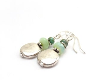 Silver Coin Earrings - Opal Blue Turquoise - Pewter - Short Petite Dangle Earrings - Yoga Jewelry