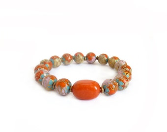 Orange & Aqua Cloisonne Bracelet - Multicolor Enamel Beads - Jasper Nugget - Bohemian Stacking Bracelet - Rock Stone Treasures