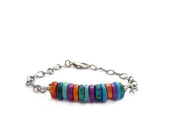 Greek Bead Friendship Bracelet - Mykonos Beads - Bar Bracelet - Chain Bracelet - Bohemian Jewelry