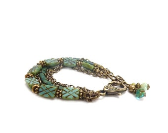Aqua Chain Bracelet - Etched Picasso Glass - Bronze Mixed Metal Charm Bracelet - Bohemian Jewelry