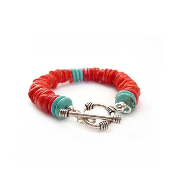 Southwestern Style Coral & Turquoise Bracelet - Handmade Beaded Bracelet - Red Orange Silver - Bohemian Jewelry
