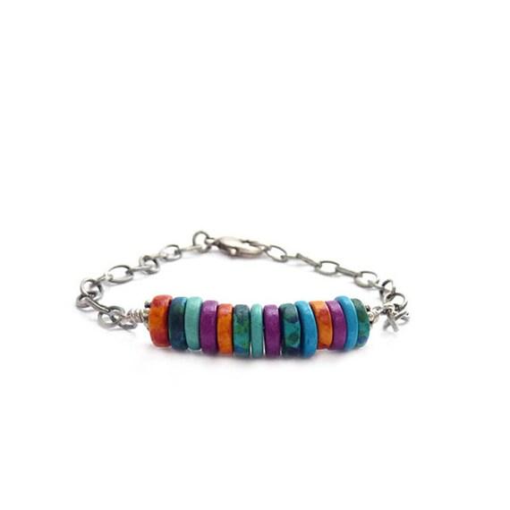 Colorful Friendship Bracelet - Mykonos Beads - Beaded Bar Bracelet - Chain Bracelet - Bohemian Jewelry