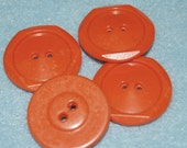 Vintage Lucite Buttons, Faceted Edge Round, Two Hole, Opaque Pumpkin Orange, Perfect for Fall, 27mm, 4 Pieces
