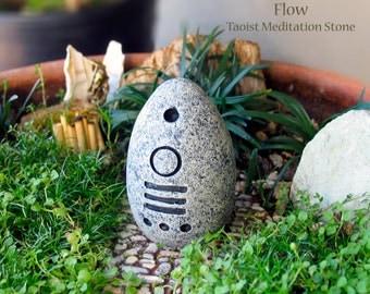 Flow - Handcrafted Taoist Meditation Altar Stone - Handpainted Clay Altar Piece - Planter and Terrarium Decor - Zen Garden