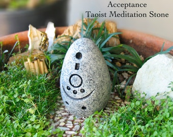 Acceptance - Handcrafted Taoist Meditation Altar Stone - Handpainted Clay Altar Piece - Planter and Terrarium Decor - Zen Garden