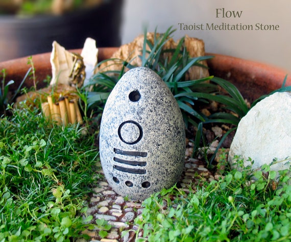 Flow - Handcrafted Taoist Meditation Altar Stone - Handpainted Clay Altar Piece - Planter and Terrarium Decor - Zen Garden