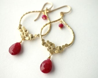 Ruby Bubble Chandelier Earrings, Gemstone Earrings, Ruby Earrings, Bridesmaid Jewelry, Dangle Earrings, July Birthstone