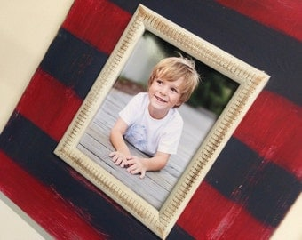 Uber Distressed Frame, Red, Navy and Morning Fog Etched Trim