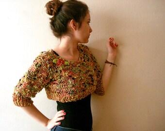Hand knit sweater, Knit women crop top, chunky knit sweater, chunky cropped sweater