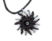 Black and Silver Goth Chainmaille Pendant Whirlybird Style