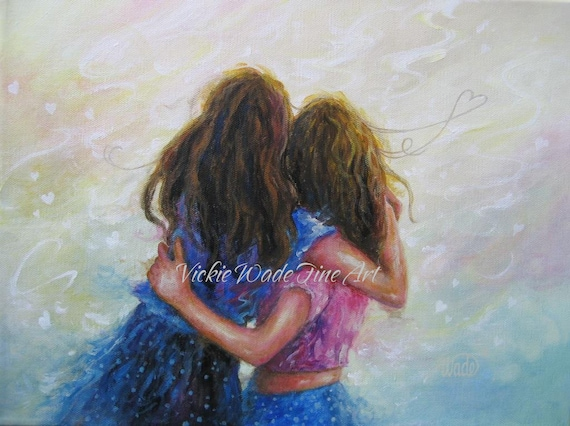 Two Sisters Art Print Two Girls Wall Art Two Girls Hugging