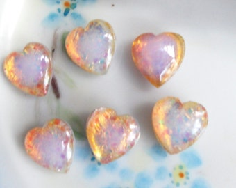 Vintage Glass Cabochons vintage heart stones,Harlequin Hearts, Pink Fire Cottage 12/10  Hearts NOS Cabs Jewelry #981