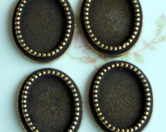 Vintage Settings Victorian Brass Beaded Oval 17x12 Antique Ox Connector. #1427