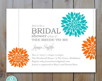 Bridal Shower Invitation /Orange Turquoise Pom Pom Flowers / PRINTABLE INVITATION / 1149