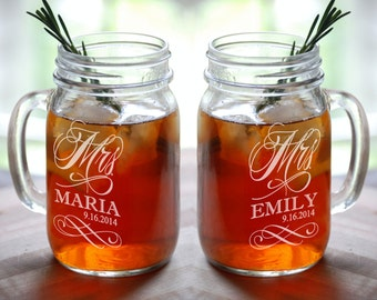 MRS and MRS Personalized Lesbian Wedding Mason Jar  Set of 2 Engraved Her Anniversary Gift Favor Idea Girlfriend Toasting Glass Civil Union