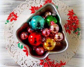 Mini Vintage Christmas Ornaments & Tree Tin Mold