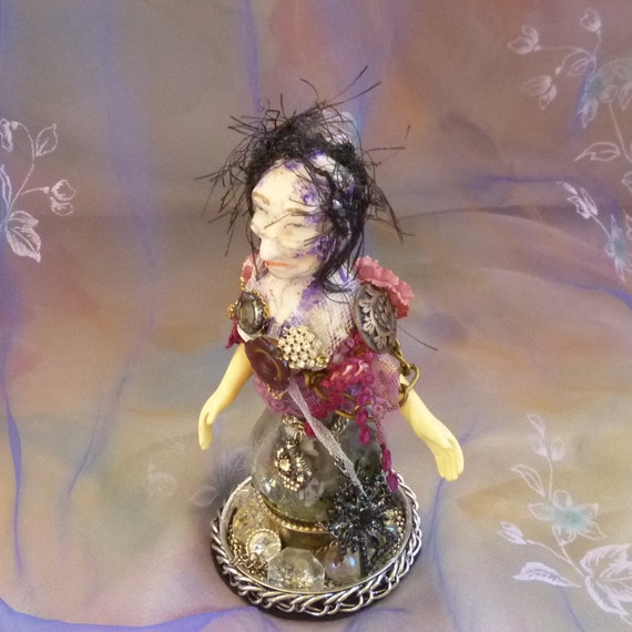Mother In Law Protection, Gothic Granny Assemblage Art Doll Sculpture by gothB4play