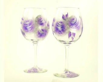 Hand Painted Wine Glasses, Set of 2 - Elegant Purple Silver Roses - Amethyst Lavender Red Wine Glass 25th Anniversary Gift