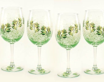 Hand-Painted Bridesmaid Wedding Wine Glasses - Emerald Green and Gold Roses Set of 12 - Personalized Custom Colors Wedding Party Favor Gift