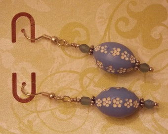 Beautiful Vintage Blue and White Beads Upcycled from 1960s necklace