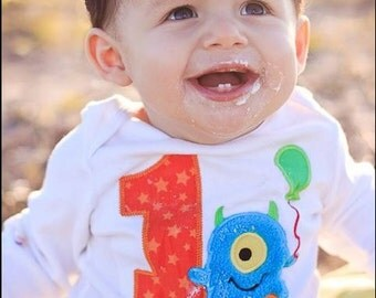 Little Blue Monster Birthday Shirt OR bodysuit - Monogrammed-Your Choice of Letters or Numbers