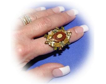 Flower Rhinestone Ring,  Adjustable,  Size 6 1/2 to 7 3/4,  Vintage 1980's