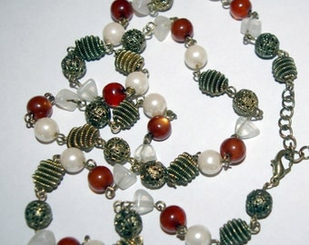 Antiquated Gold Tone Pearl Necklace,  Long Length,  Vintage 1980's