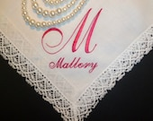 Personalized BRIDESMAID Handkerchief Custom Wedding Embroidered Hankerchief