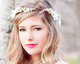 bridal headpiece accessory, wedding flower crown, cherry blossom flower crown, wedding accessory, bridal headpiece