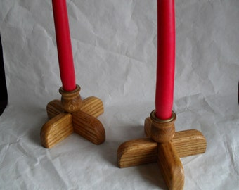 Oak Candle Holders
