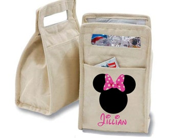 Personalized Minnie Mouse Ears with Pink Bow Insulated Cotton Lunch Bag - Personalized with Any Name and You Choose the Font!
