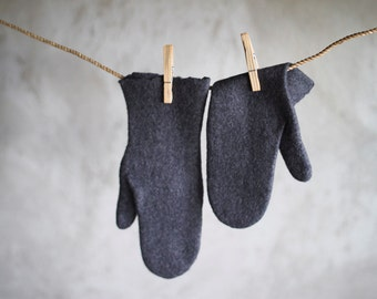 Dark grey felted mittens organic merino wool gloves Eco friendly women men mittens charcoal arm warmers Christmas gift - handmade to order
