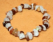 SALE 50% OFF Rose quartz and lodolite natural beaded stretch bracelet - Medium (7.25 inches), latex-free