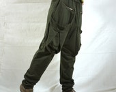 Men Women Funky Ninja Harem Army Green Cotton Jersey Drop Crotch Pants With Patched & Zipped Pockets